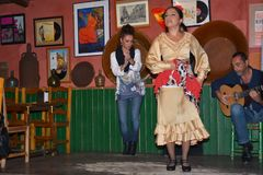 Andalusian girls dance and sing flamenco, the typical traditional music of southern Spain,Seville,04/15/2017. Dancing and singing Flamenco in a bar in Sevilla stock photography