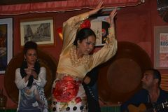 The girl dances passionately, with drops of sweat on her forehead. Dancing and singing Flamenco in a bar in Sevilla, in Betis street, along the Guadalquivir royalty free stock photos