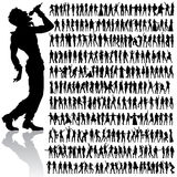Dancing and singing people big set Royalty Free Stock Photos