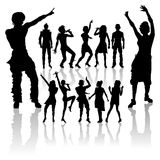 Dancing and singing people new set. Dancing and singing peoples silhouette new set Stock Photography