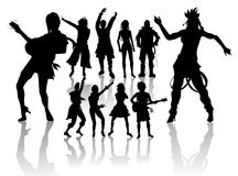 Dancing and Singing People's Silhouettes Stock Photography