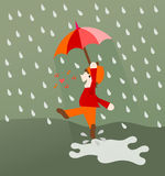 Dancing and singing in the rain Royalty Free Stock Image