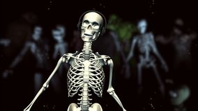 Dancing Skeleton. A dancing skeleton with earphones. Looping animation vector illustration