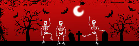 Dancing skeleton Halloween background Royalty Free Stock Photos