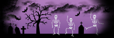 Dancing skeleton Halloween background Stock Photo