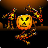 Dancing Skeletons. Vector illustration of skeletons celebrating Halloween and dancing at cemetery around a big carved pumpkin Royalty Free Stock Image
