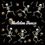 Dancing skeletons in different poses. Vector icons Royalty Free Stock Photos