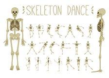 Dancing skeletons set. Stock line vector illustration Royalty Free Stock Photo