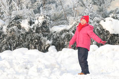 Dancing on the snow. A little girl dancing on the snow Stock Photo