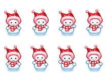 Dancing snowman animation sprite in Pixel-Art style vector illustration