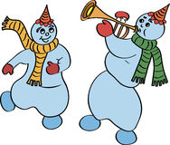 Dancing snowmen Royalty Free Stock Photos