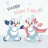 Dancing Snowmen. Vector illustration. Greeting card with new year Stock Images