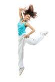 Dancing sottile moderno del danzatore della donna di stile di hip-hop Immagini Stock