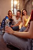 Dancing, sport and urban culture concept - Smiling dancers takin. G selfie on smartphone Royalty Free Stock Photo