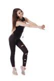 Dancing sportivo dell'adolescente con le cuffie Fotografie Stock