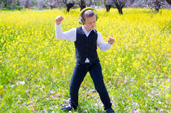 Dancing in the spring field Royalty Free Stock Photos