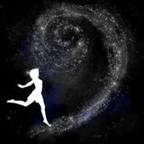 Dancing with stars background. Girl dancing with stars black background royalty free illustration