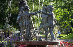 Dancing statues water fountain Stock Photos