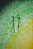 Dancing stickmen stock photo