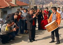 Dancing in the street. People dancing in the streets of Ankara in Turkish wedding Stock Photography