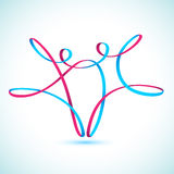 Dancing string figures. Two dancing string figures Royalty Free Stock Photos