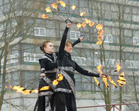 Dancing and stunts with fire. Stock Photo