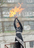 Dancing and stunts with fire. Royalty Free Stock Photos