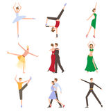 Dancing Styles Flat design Royalty Free Stock Images