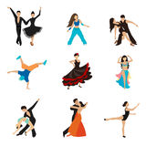 Dancing styles flat icons set Stock Image