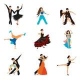 Dancing styles flat icons set Stock Image