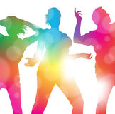 Dancing at the Summer Festival. Abstract Illustration of Young Dancing People lost in the music of a summer festival Stock Image