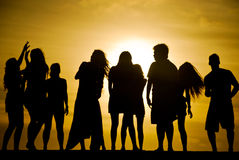 Dancing at Sunset Silhouettes royalty free stock photo