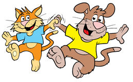 Dancing sveglio del gatto e del cane del fumetto Immagini Stock