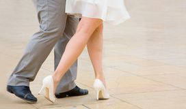 Dancing tango. Street dancers performing tango dance Royalty Free Stock Photos