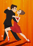 Dancing tango characters Royalty Free Stock Photo