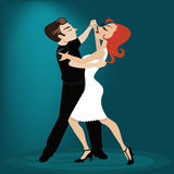 Dancing tango characters Royalty Free Stock Photos
