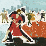 Dancing the Tango. Five couples dancing the tango over an abstract background Stock Photos