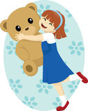 Dancing with Teddy. Vector illustration of a little girl dancing happily with her big teddy bear Royalty Free Stock Photos
