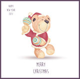 Dancing teddy bear in Santa Claus clothes. Happy dancing with maracas teddy bear and dressed like Santa Claus isolated on white background. Happy new year 2017 Royalty Free Stock Image