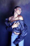 Dancing Teenage African American / Black Girl Stripping Off Her Jacket Stock Images