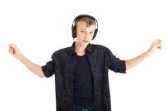 Dancing teenage boy with headphones Stock Photography