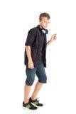 Dancing teenage boy with headphones Royalty Free Stock Image