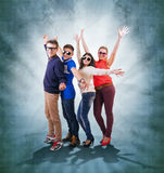 Dancing teenage friends on abstract grunge background Stock Photo