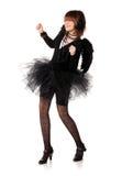 Dancing teenage girl in costume of black angel Royalty Free Stock Image