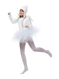 Dancing teenage girl in costume of white angel Stock Images