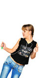 Dancing  teenager girl Stock Photos