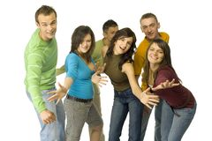 Dancing teenagers. Group of 6 happy teenagers. They're dancing to the camera. White background Stock Image