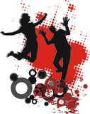 Dancing teenagers vector illustration