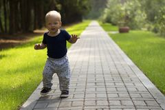 Dancing toddler in the park. First independent steps of cute one year baby boy Stock Photo