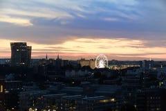 Dancing towers and Ferris Wheel of Hamburg`s Dom at sunset. Hamburg`s landmarks - Dancing towers and Ferris Wheel of Hamburg`s Dom at sunset stock photo